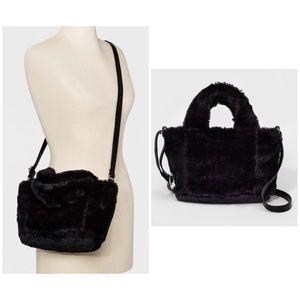 Handbags - Small Tote/Cross-body Faux Fur Handbag